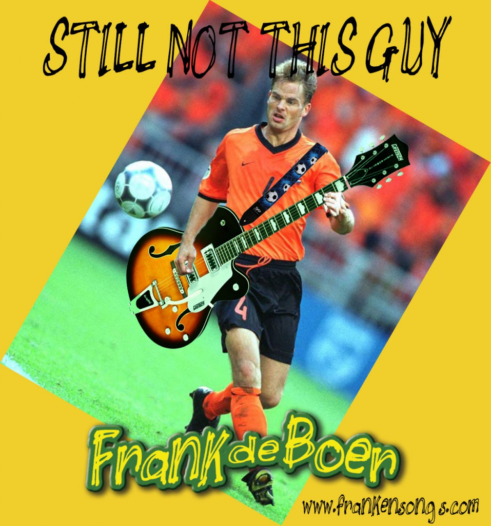 Football player Frank de Boer with a a guitar. Just as unlikely as songwriter Frank de Boer with a football.